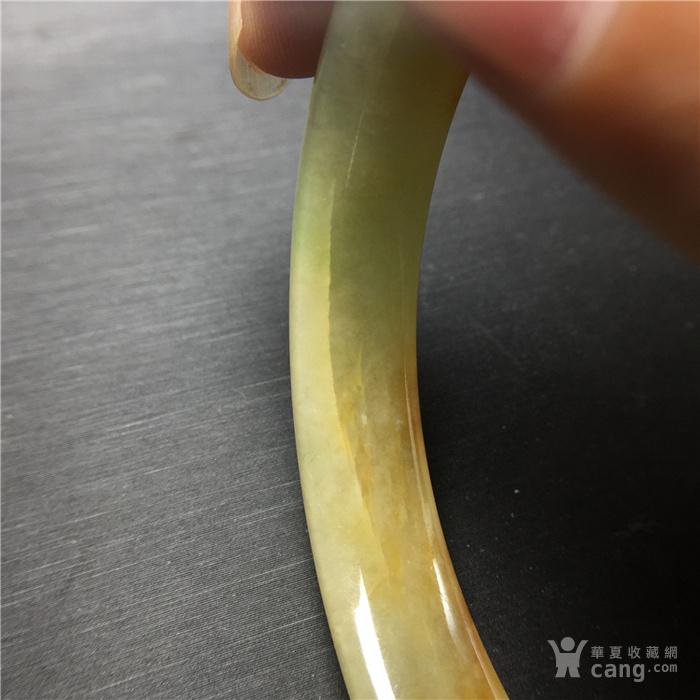 玉泉文玩b468创汇期糯冰种三彩翡翠扁条手镯