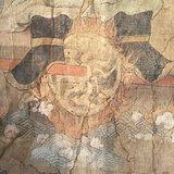 全品清代矿物彩手绘马元帅布画像
