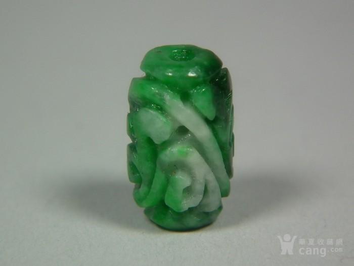几十年的a货满绿翡翠灵芝纹通天孔小玉珠勒子图1