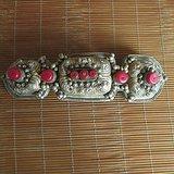 镶宝石老银器 古代银饰 古代服装银饰 银肩章 包邮