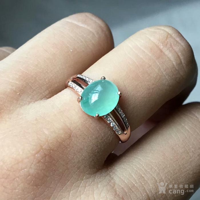 天然缅甸翡翠冰晴蛋面镶925银镀金精美戒指一枚