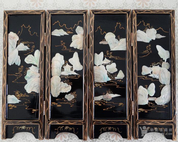 海外回流民国贝壳镶嵌山水亭台楼阁屏风两幅图3