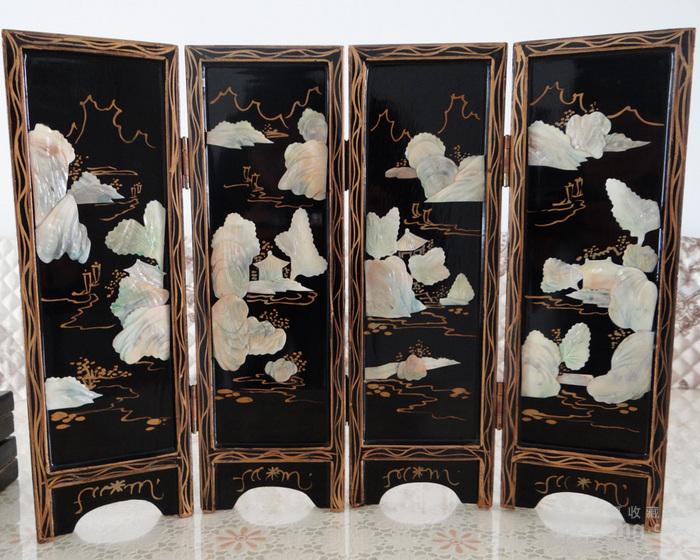 海外回流民国贝壳镶嵌山水亭台楼阁屏风两幅图2