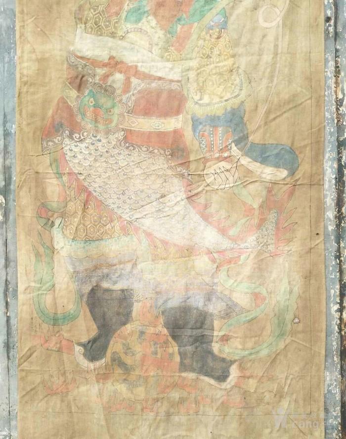 清代矿物彩手绘王元帅布画