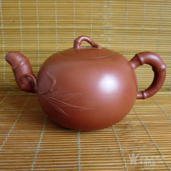 朱泥紫砂壶 竹节壶 友兰秘制壶图1