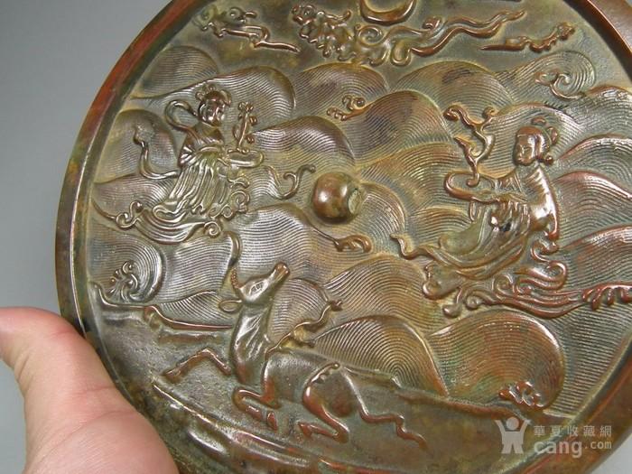 群仙寿鹿海水纹大圆铜镜图4