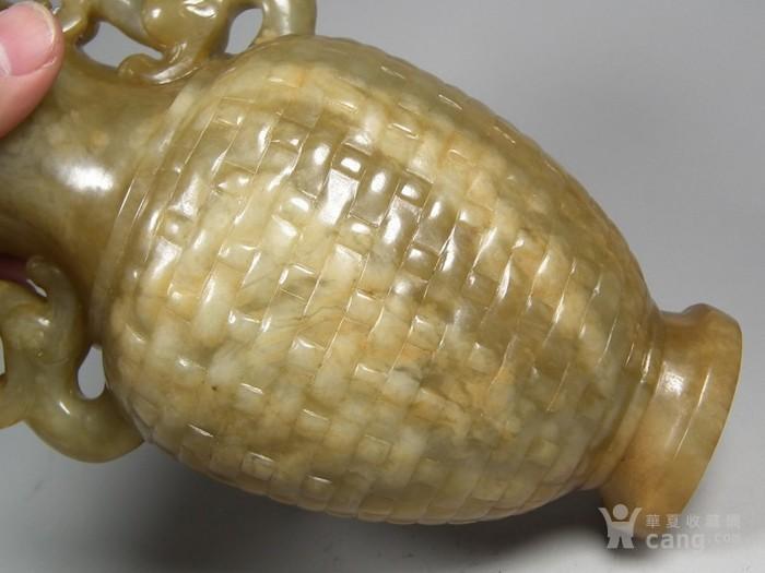 老和田青玉带红沁双龙竹编纹大玉瓶图8