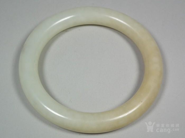和田白玉带黄沁大圆手镯图1