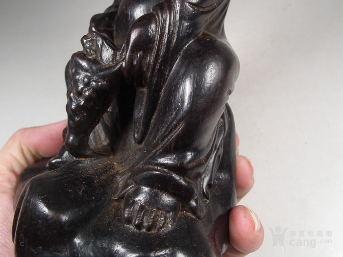 老黑檀木圆雕刘海戏金蟾大坐像图9