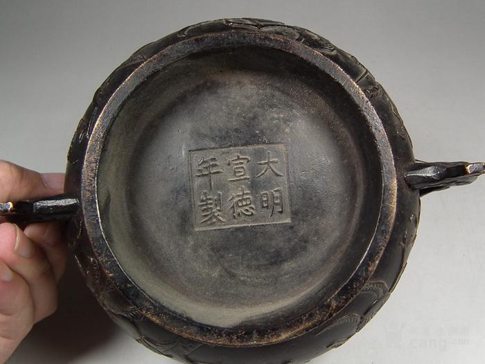 老黄铜双扶手石榴仙桃大香炉图3