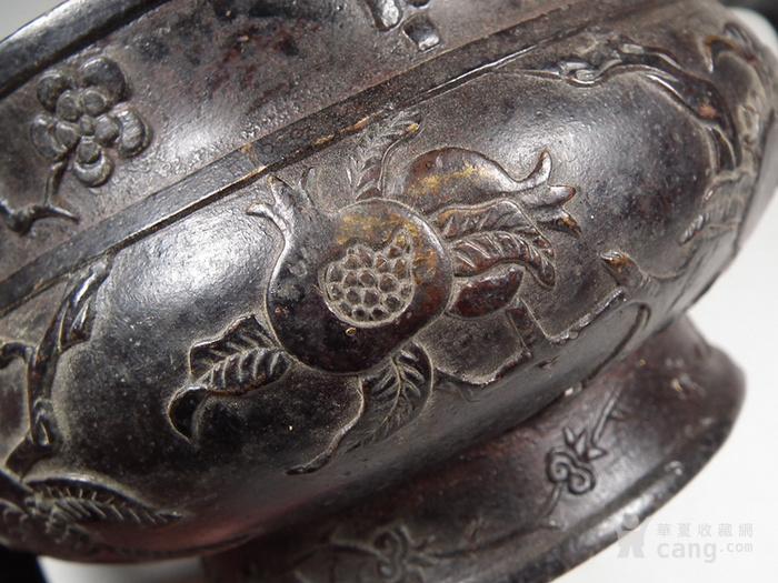 老黄铜双扶手石榴仙桃大香炉图9