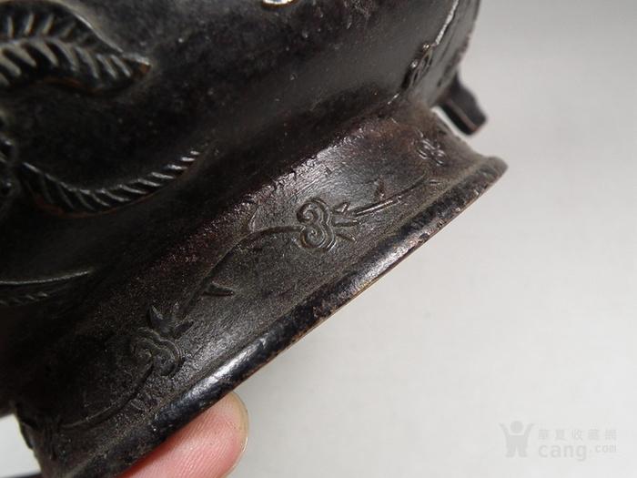 老黄铜双扶手石榴仙桃大香炉图11