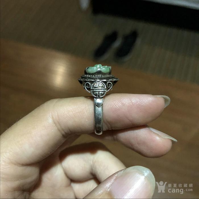 民国十三行出品翡翠银戒指