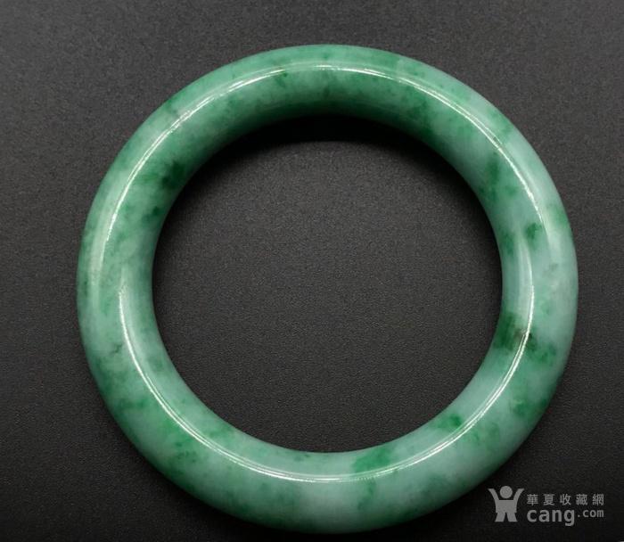 天然 货翡翠糯种飘阳绿翡翠粗圆条手镯
