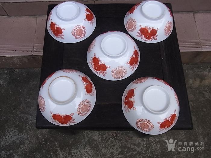 5个解放初景德镇矾红寿桃大碗