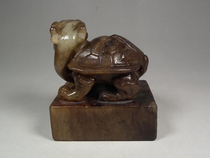 和田青白玉带黑沁镂空高浮雕龙龟双款大印章摆件