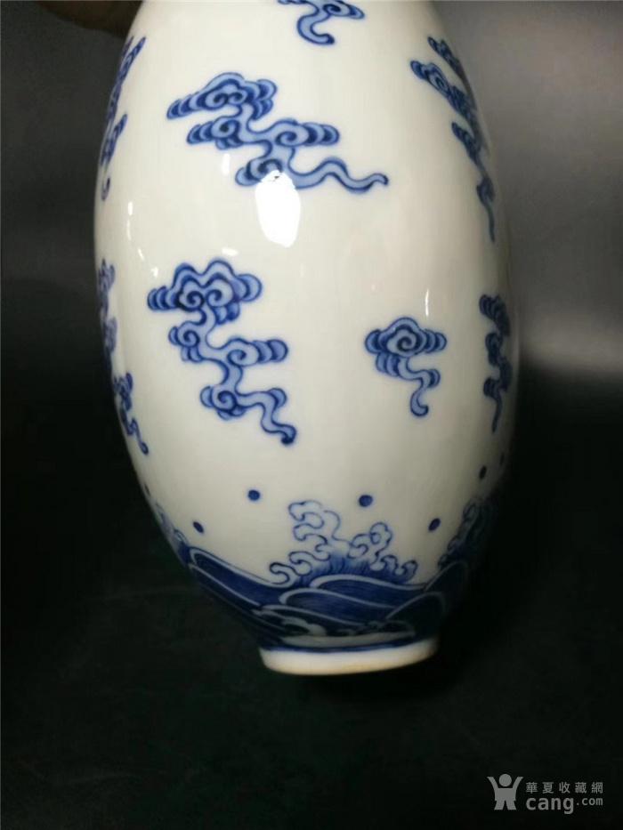 青花矾红龙纹扁瓶