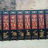 古玩木器老红木家具檀木镶嵌玉石大漆彩绘屏风
