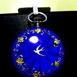 极美瑞士制造古董纯银壳珐琅彩小怀表 蓝紫色珐琅彩