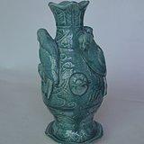精美绿釉三鸟瓶