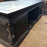 古玩老红木家具檀木雕龙大写字台