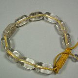 近现代几十年通天孔白色水晶桶珠手串
