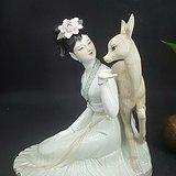 八十年代广东枫溪陶瓷研究所所长陈钟鸣作品    鹿与少女