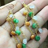天然缅甸翡翠三彩14K金镶嵌时尚耳环