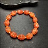 玉泉文玩b731七八十年代天然红玛瑙长形灯笼珠手串