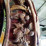 清代早期 福建 本土高浮雕漆金矿物彩木刻房屋构件一个