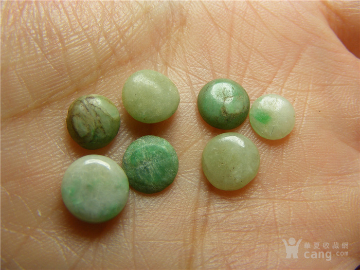 清代老坑a货淡色翡翠 飘绿翡翠与带沁翡翠圆形镶嵌件7