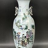 包老 民国细路粉彩时装人物三百件诗文赏瓶