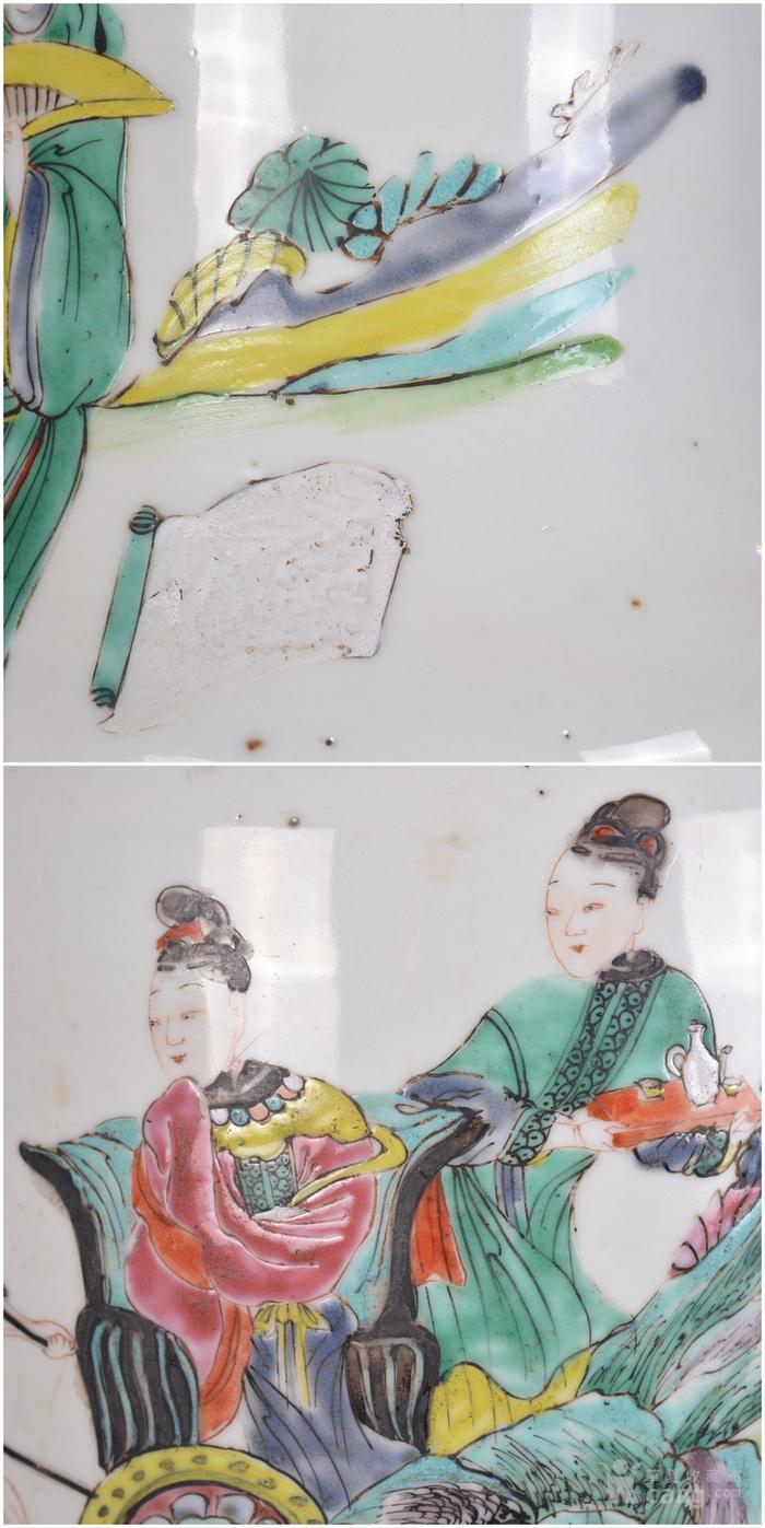 雍正 粉彩人物故事 盘口瓶图9