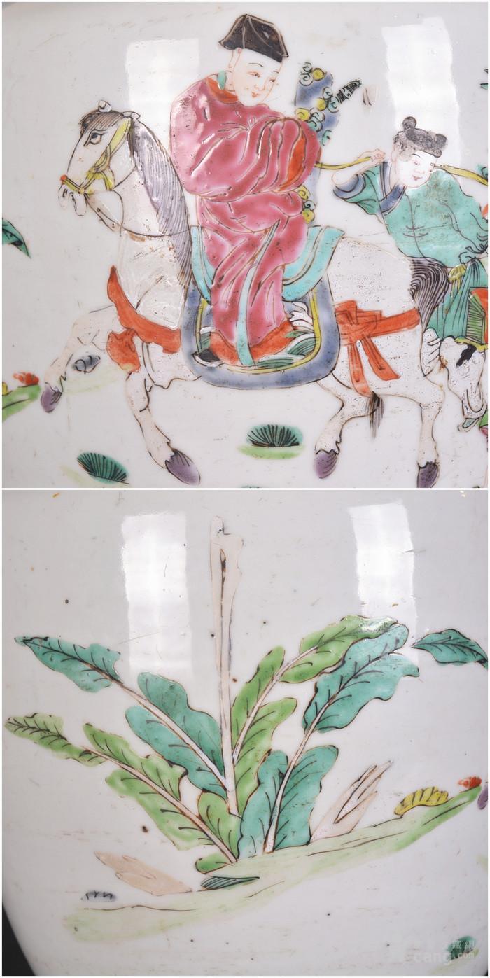 雍正 粉彩人物故事 盘口瓶图11