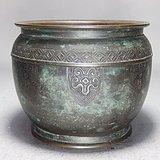 清代铜雕回纹香炉