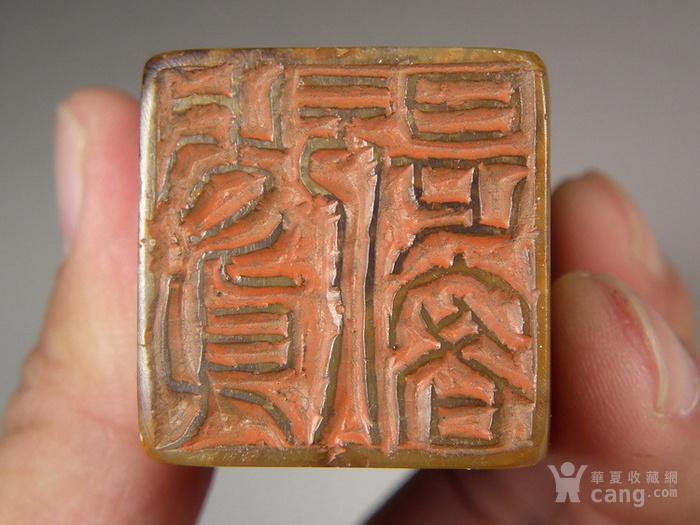 老深黄色寿山石圆雕卧兽大方印章图8