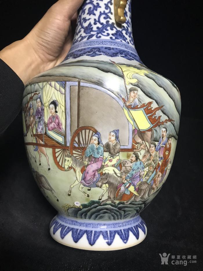 老青花粉彩人物故事双耳瓶1888图5