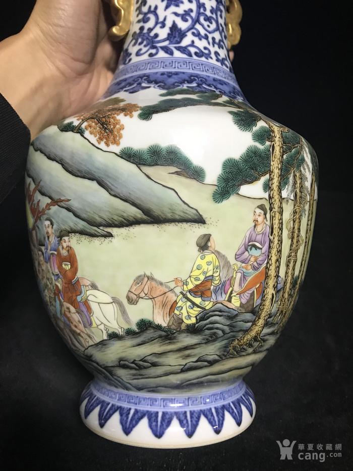 老青花粉彩人物故事双耳瓶1888图6