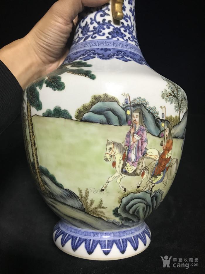 老青花粉彩人物故事双耳瓶1888图7