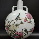 粉彩花鸟扁瓶