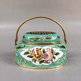 纯铜景泰蓝手炉,高6cm宽8.5cm