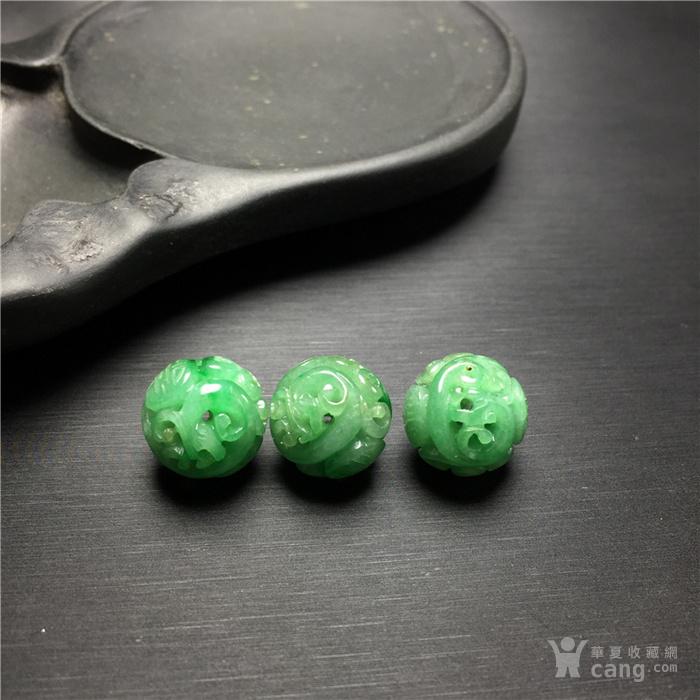 玉泉文玩b910创汇期糯冰种飘绿翡翠团寿龙纹圆珠3颗