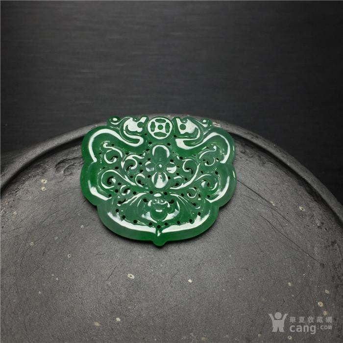 玉泉文玩b916创汇期冰种满晴水绿翡翠双龙福在眼前锁牌
