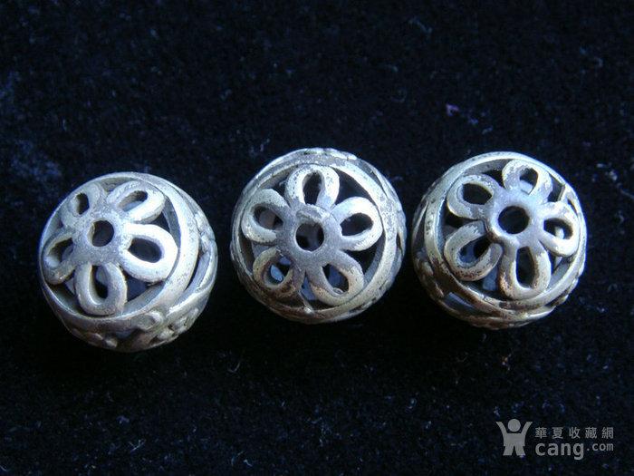 老银镂空珠子3颗