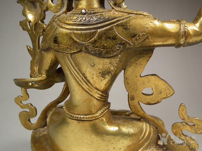 老铜鎏金莲花座渡母大坐像图9