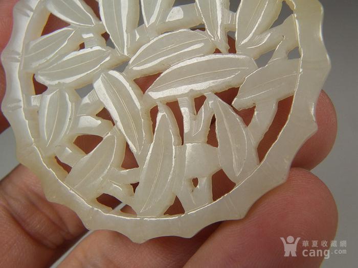 和田青白玉双面拉丝工竹叶竹节纹大圆玉佩