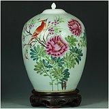 画工非凡!珠山客次真古董!民国纯手绘牡丹绶带鸟粉彩大罐