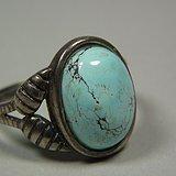 几十年的老银镶嵌原矿绿松石戒面戒指