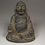 明代晚期老铜制大肚弥勒佛像