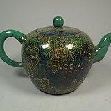 紫砂胎绿釉葡萄花卉纹大茶壶